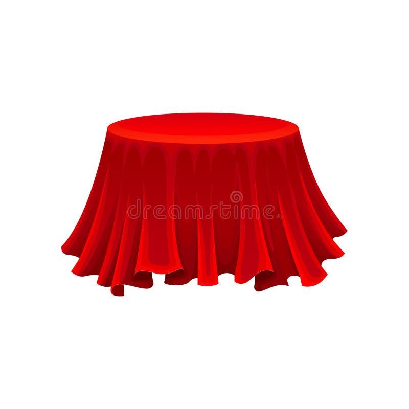 Rondetafel onder rode zijdedoek geheimzinnigheid concept royalty-vrije illustratie