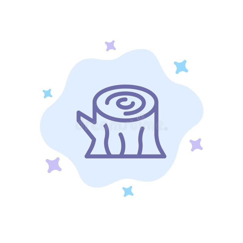 Rondin, bois, en bois, icône bleue de ressort sur le fond abstrait de nuage illustration de vecteur