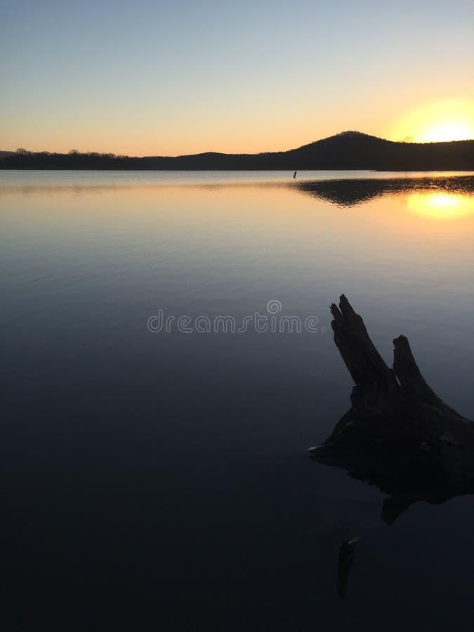 Rondin flottant dans le lever de soleil images stock