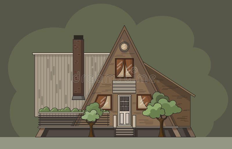 Rondin plat de cabine de forêt Illustration colorée de vecteur illustration stock