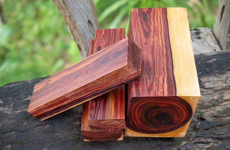 Rondins en bois de bois de rose birman images libres de droits