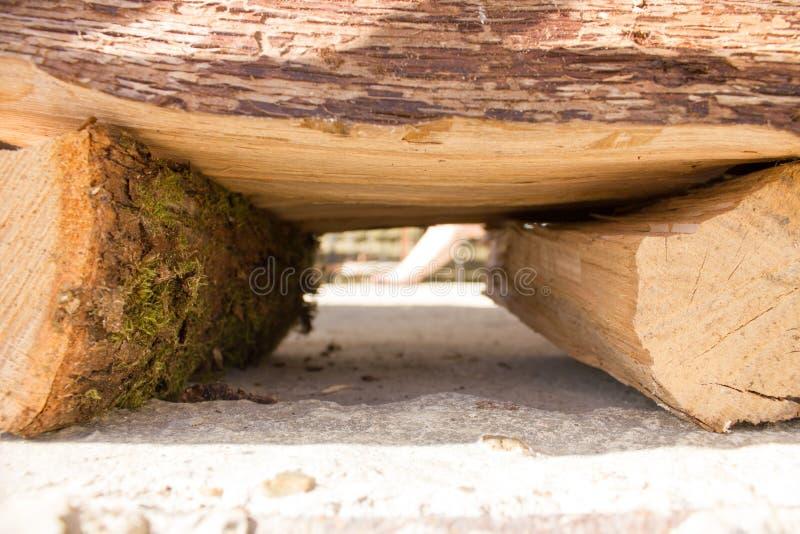 Rondins en bois pour le feu d'inflammation photographie stock