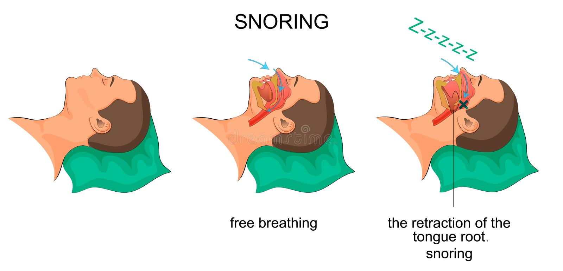 Ronflements d'homme de sommeil illustration libre de droits