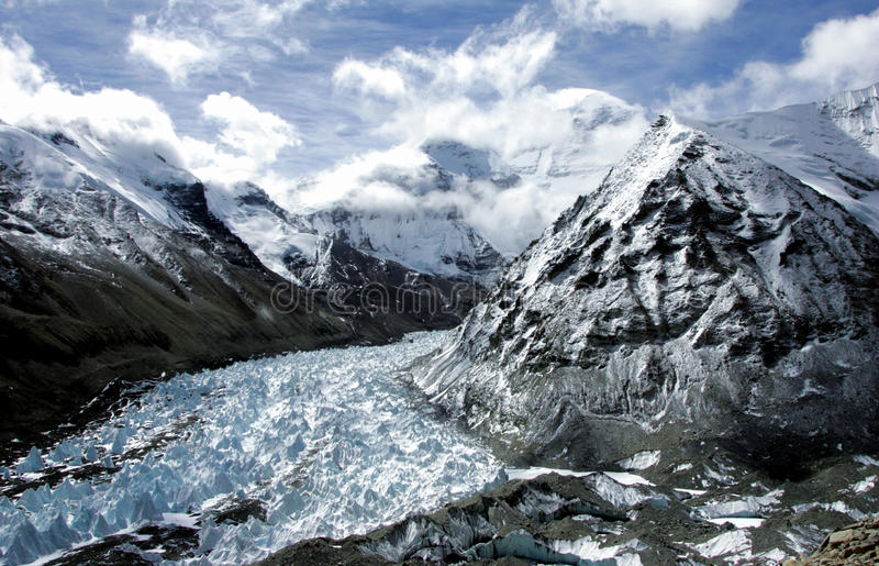 Rongbuk Glacier in the Mount Everest stock photos