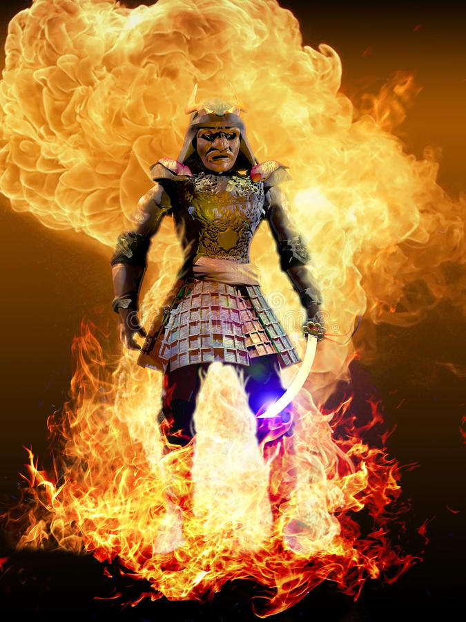 Ronin umgab durch Feuer stock abbildung