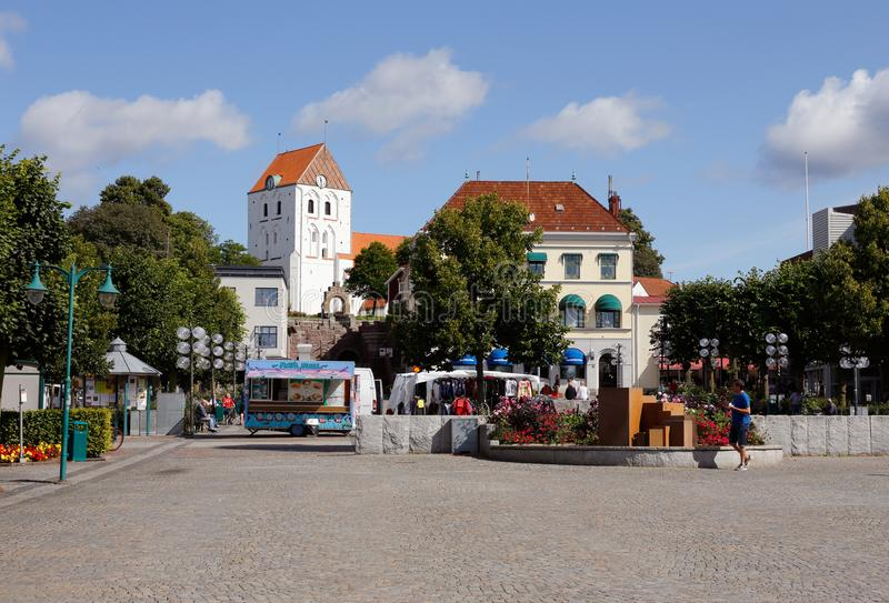 Ronneby town square. Ronneby, Sweden - August 23, 2017: The town squre with churche building in the background stock photos
