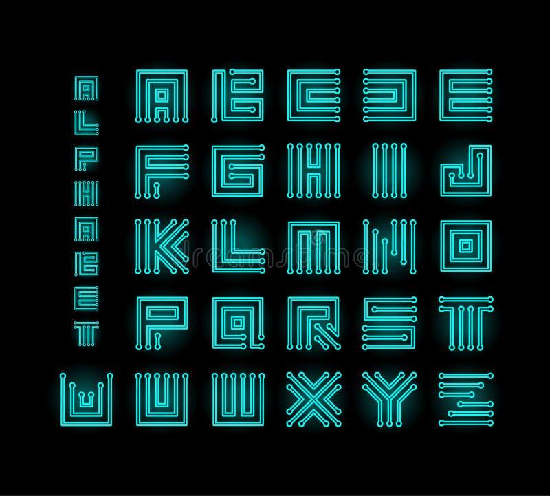 Ront техника, алфавит вектора технологии, письма набора микросхем стилизованные, логотипы письма базы данных C.P.U. установило ша иллюстрация штока