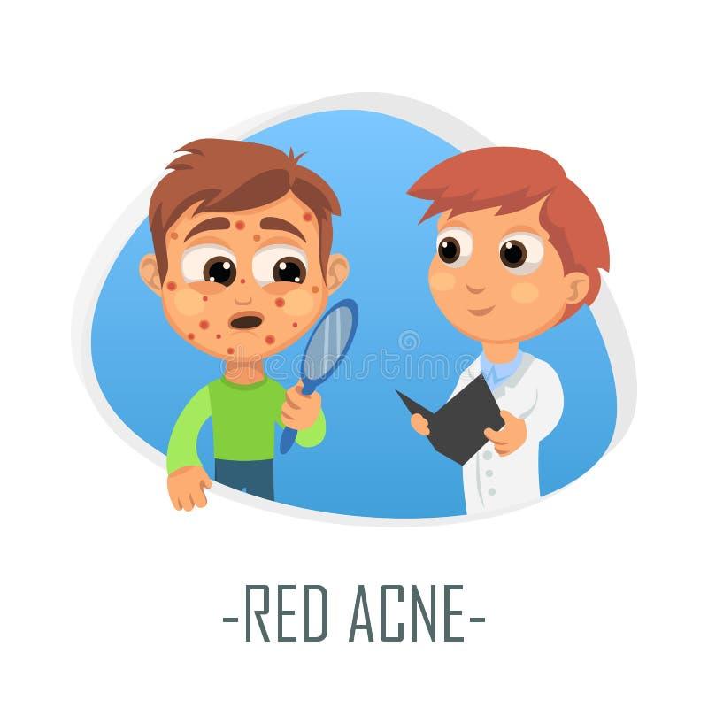 Rood acne medisch concept Vector illustratie stock illustratie