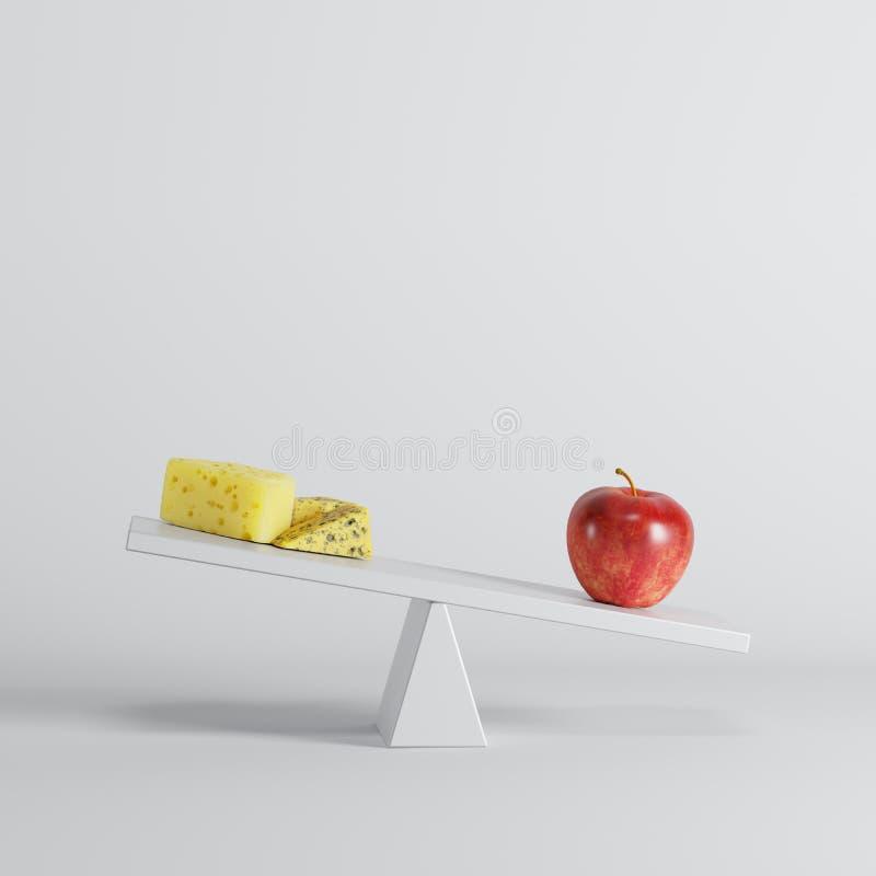 Rood appel het tippen geschommel met kaas op tegenovergesteld eind op witte achtergrond stock illustratie
