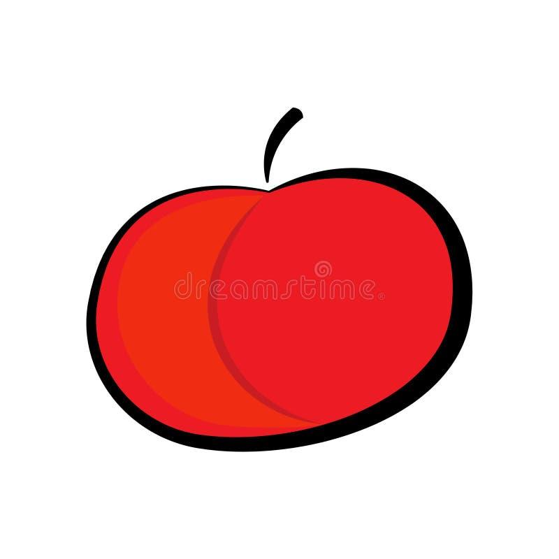 Rood appelpictogram, dat op witte achtergrond wordt geïsoleerd Vectorelementen van vlak ontwerp voor gezondheid, dieet royalty-vrije illustratie