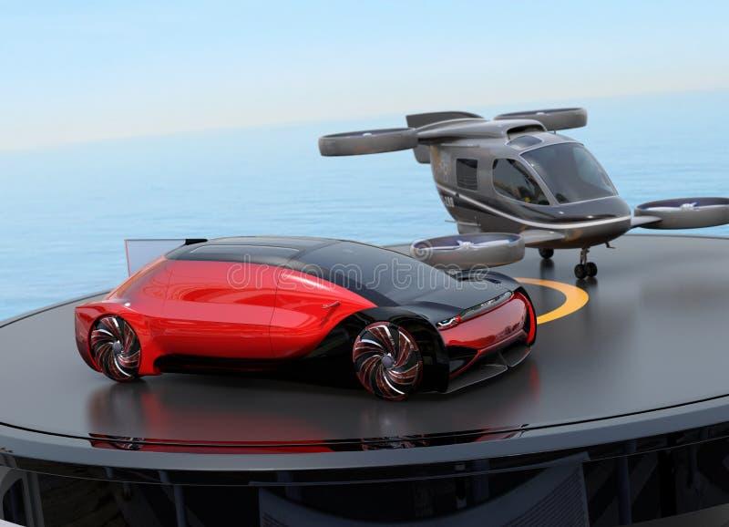 Rood autonoom elektrisch auto en passagiershommelparkeren op helihaven royalty-vrije illustratie
