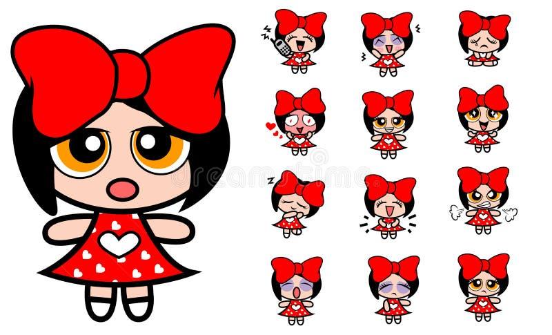 Rood beeldverhaalmeisje stock illustratie