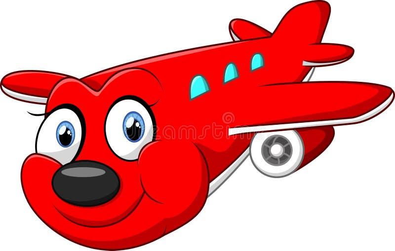 Rood beeldverhaalvliegtuig vector illustratie