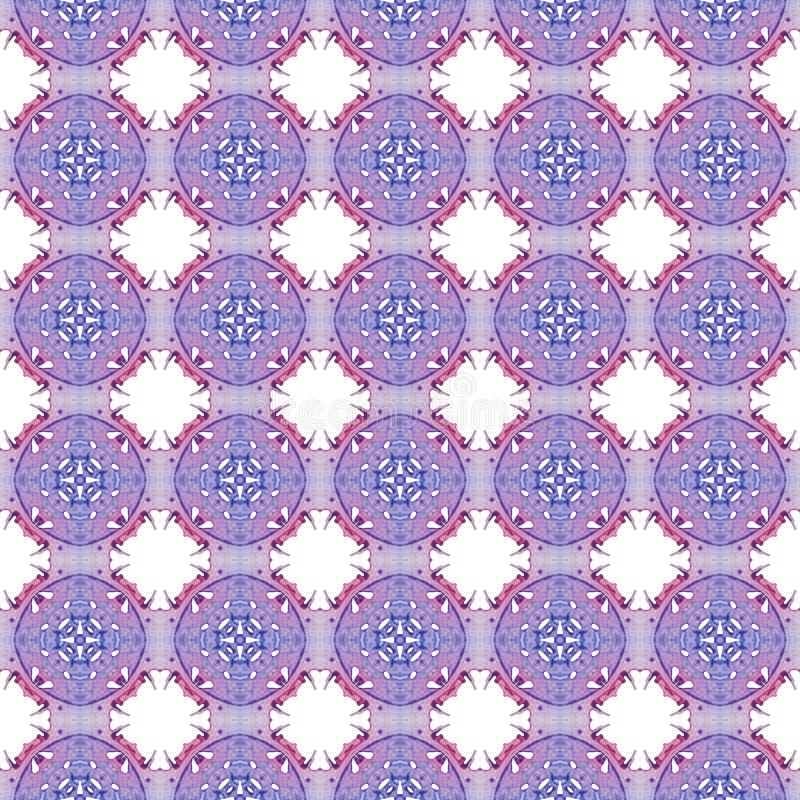 Rood blauw geometrisch naadloos patroon Getrokken hand wa stock illustratie