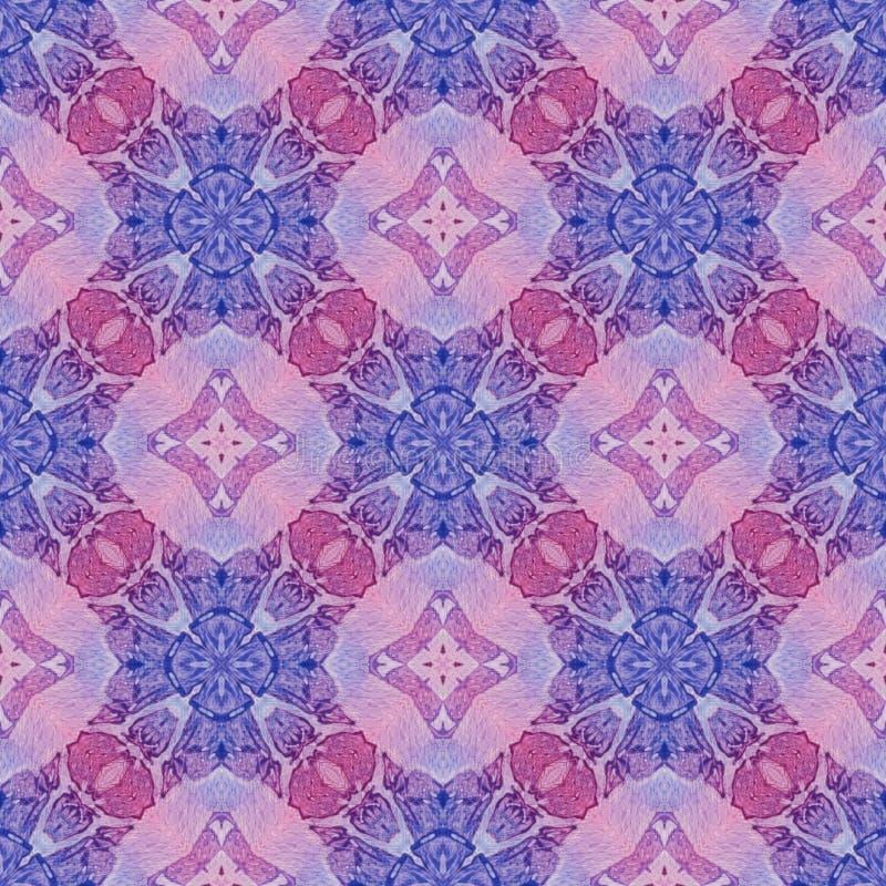 Rood blauw medaillon helemaal over naadloos patroon Hand royalty-vrije illustratie