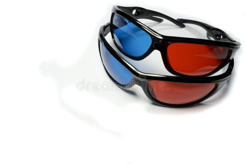 Rood-blauwe glazen om de stereofilms te zien royalty-vrije stock afbeelding
