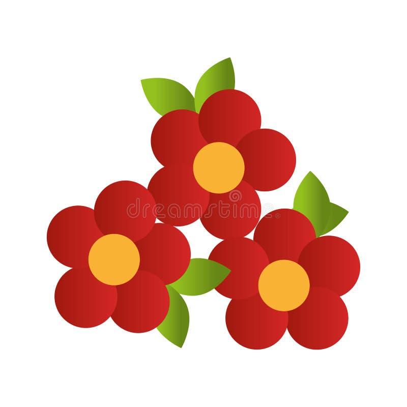Rood bloemenontwerp met bladeren stock illustratie