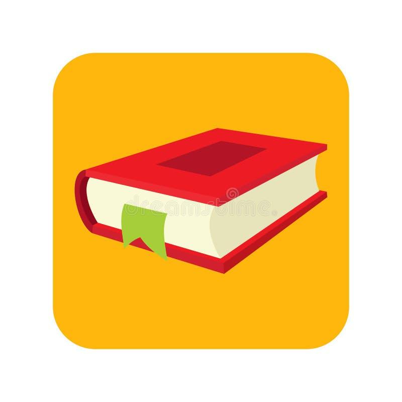 Rood boek met referentie vlak pictogram vector illustratie
