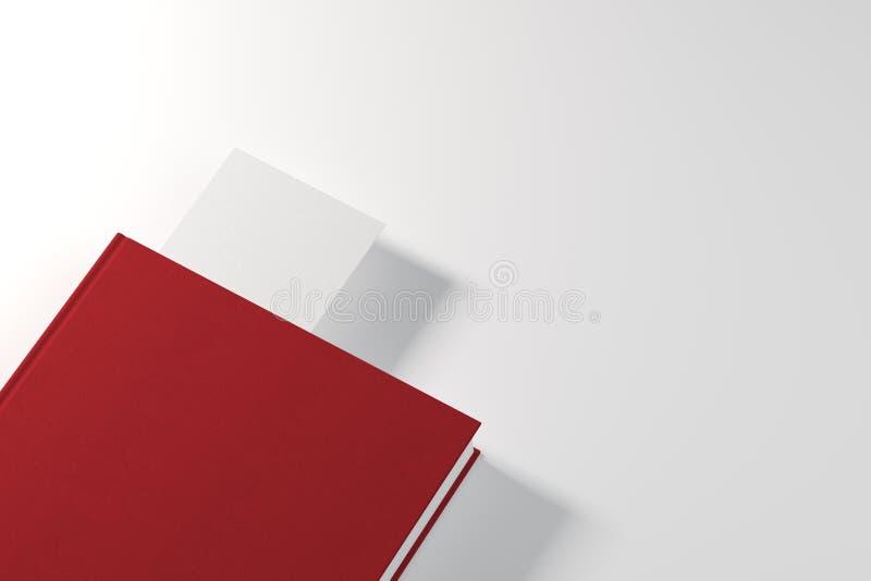 Rood boek met witte referentie stock illustratie