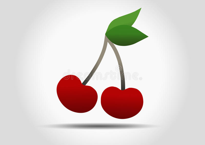 Rood Cherry Vector Icon royalty-vrije stock afbeeldingen