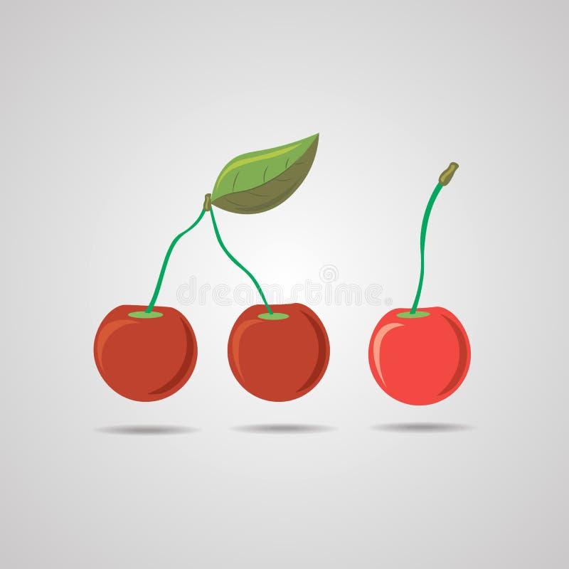 Rood Cherry Vector Icon Rode die kers op grijze achtergrond wordt geïsoleerd vector illustratie