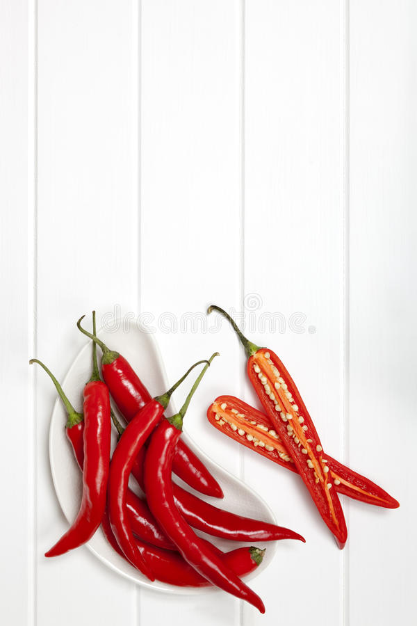Rood Chili Peppers Food Background stock foto