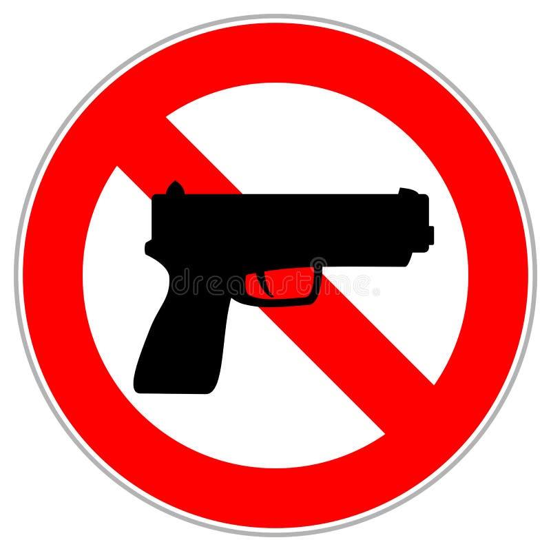Rood cirkelteken die de ingang met vuurwapens of kanonnen beperken stock illustratie