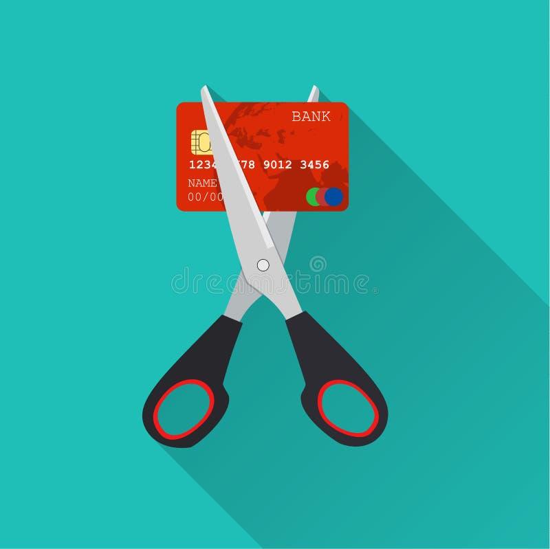 Rood creditcardknipsel door de schaar stock illustratie