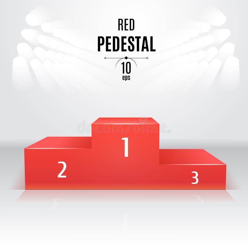 Rood 3D-voetstukmalplaatje Tentoonstellingsplaats Aangewezen na royalty-vrije stock afbeelding