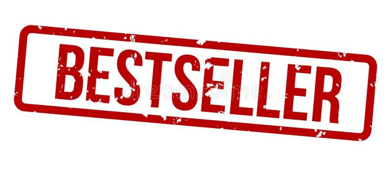 Rood de zegelkenteken van best-seller vierkant grunge stock illustratie