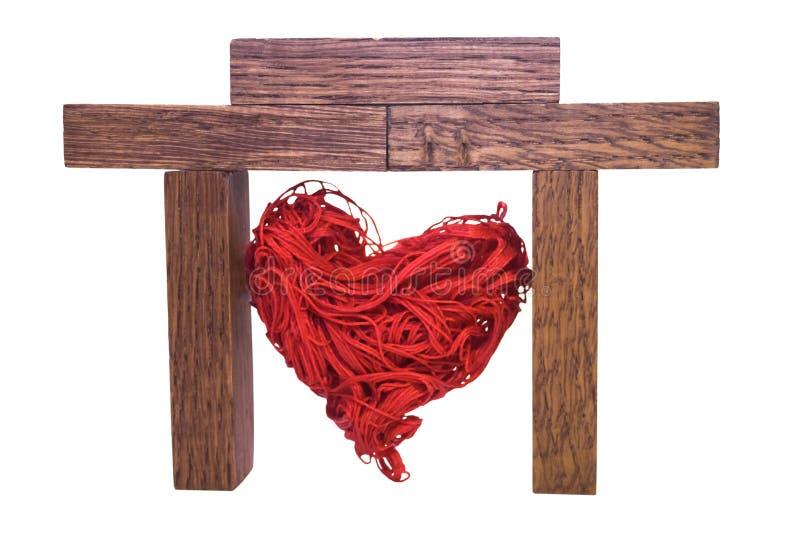 Rood decoratief hart in een huis stock foto's