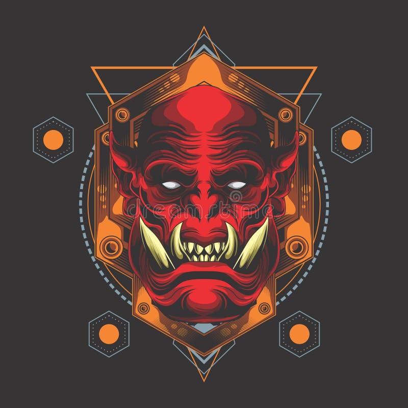 Rood demon hoofdembleem stock illustratie