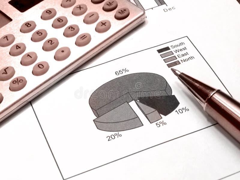 (Rood) diagram, pen en calculator royalty-vrije illustratie