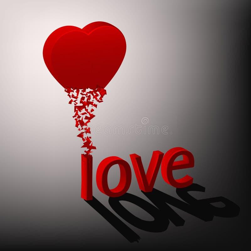 Rood die hart in de woordliefde wordt gekristalliseerd stock illustratie