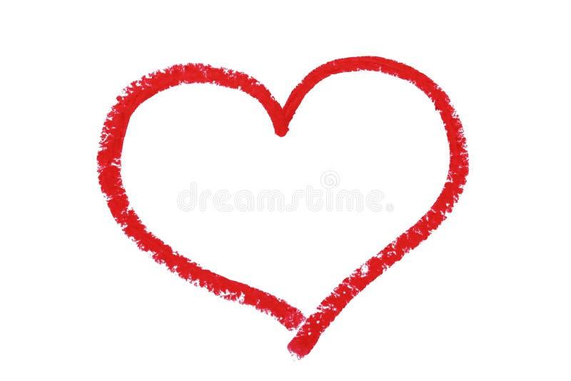 Rood die hart door lippenstift wordt getrokken stock foto