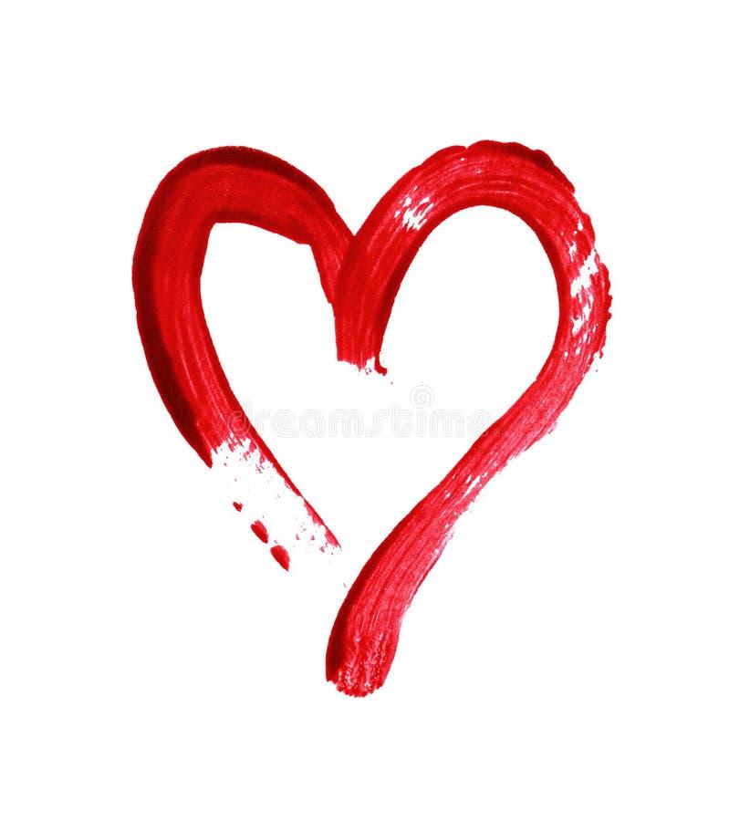 Rood die hart met een borstel wordt geschilderd stock afbeeldingen