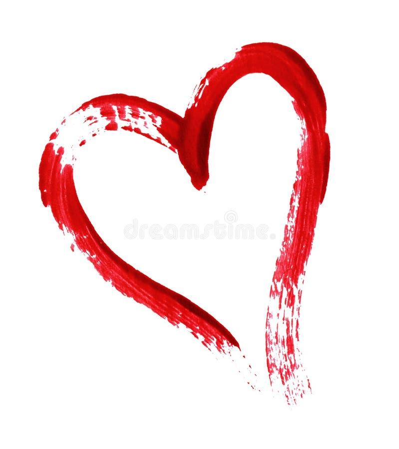 Rood die hart met een borstel wordt geschilderd stock foto's