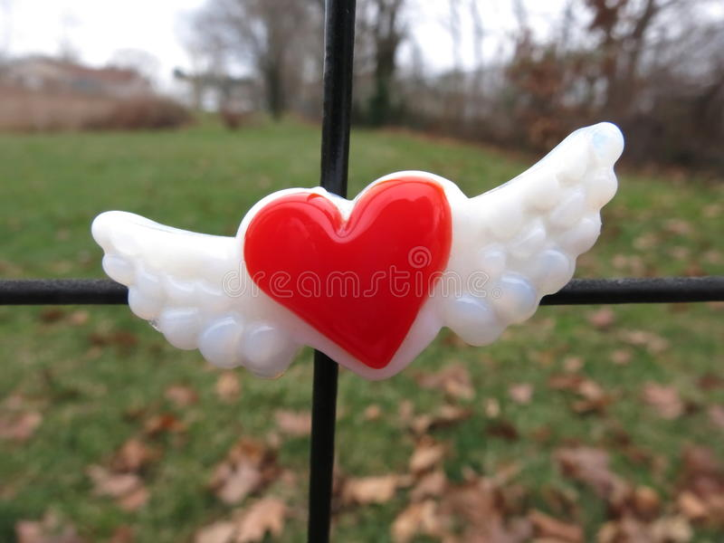 Rood die hart met vleugelsmagneet op metaalomheining wordt gecentreerd stock foto