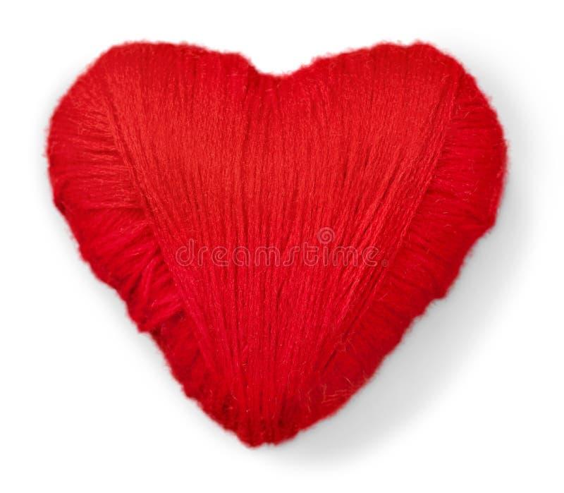 Rood die Hart van Geïsoleerde Wol wordt gemaakt stock afbeelding