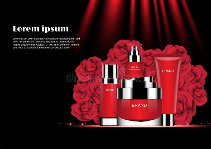 Rood die schoonheidsmiddel met bloeiende bloemen en rood het glanzen licht wordt geplaatst vector illustratie
