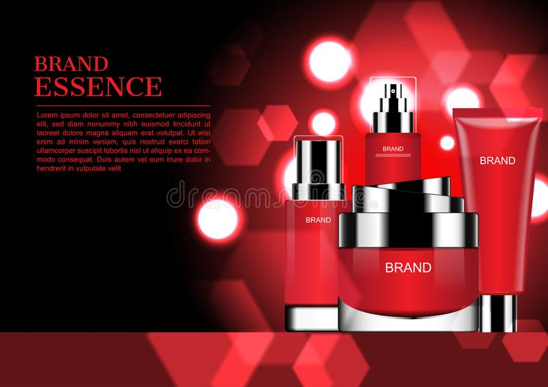 Rood die schoonheidsmiddel met het glanzen lichten en hexagon bokeh wordt geplaatst vector illustratie