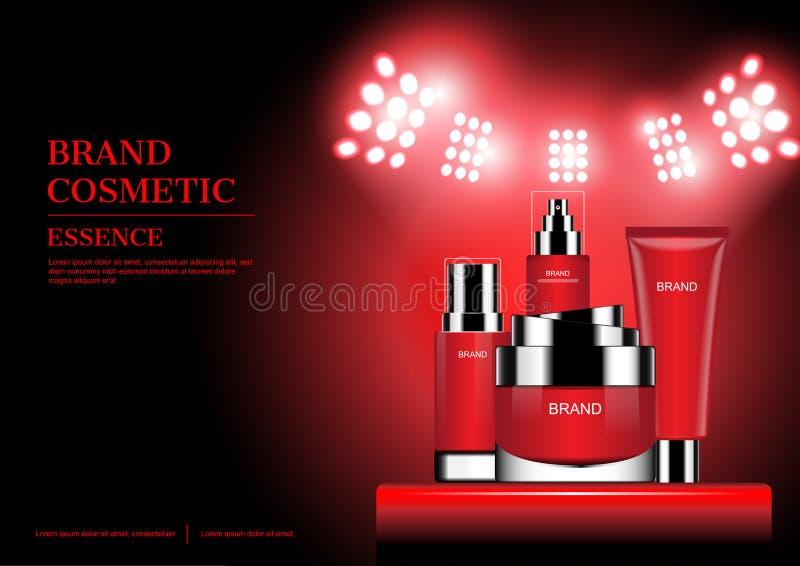 Rood die schoonheidsmiddel op tribune met schijnwerper vectorillustratie wordt geplaatst vector illustratie
