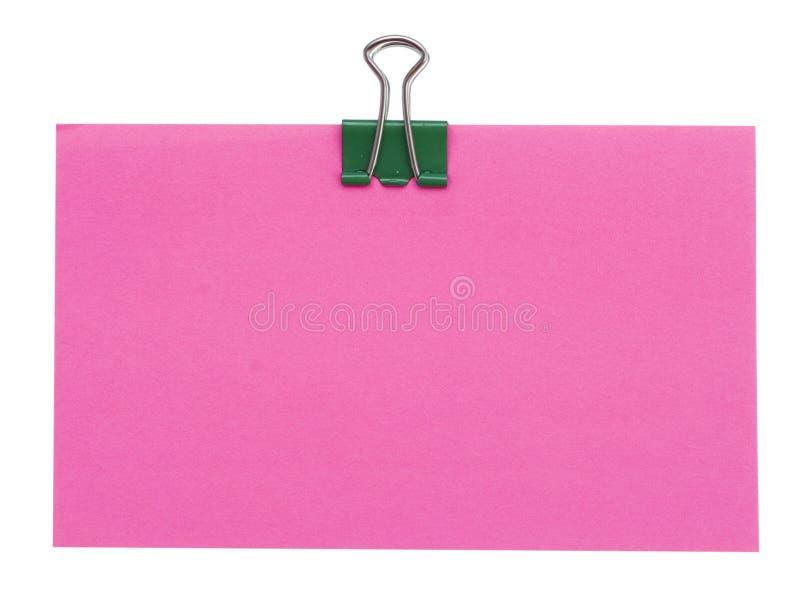 Rood document en groene klem stock afbeelding