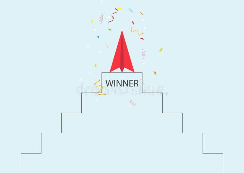 Rood document vliegtuig bovenop tribune met confettien, de voltooiingsconcept van het bedrijfsleidings ambitieus succesvol doel royalty-vrije illustratie