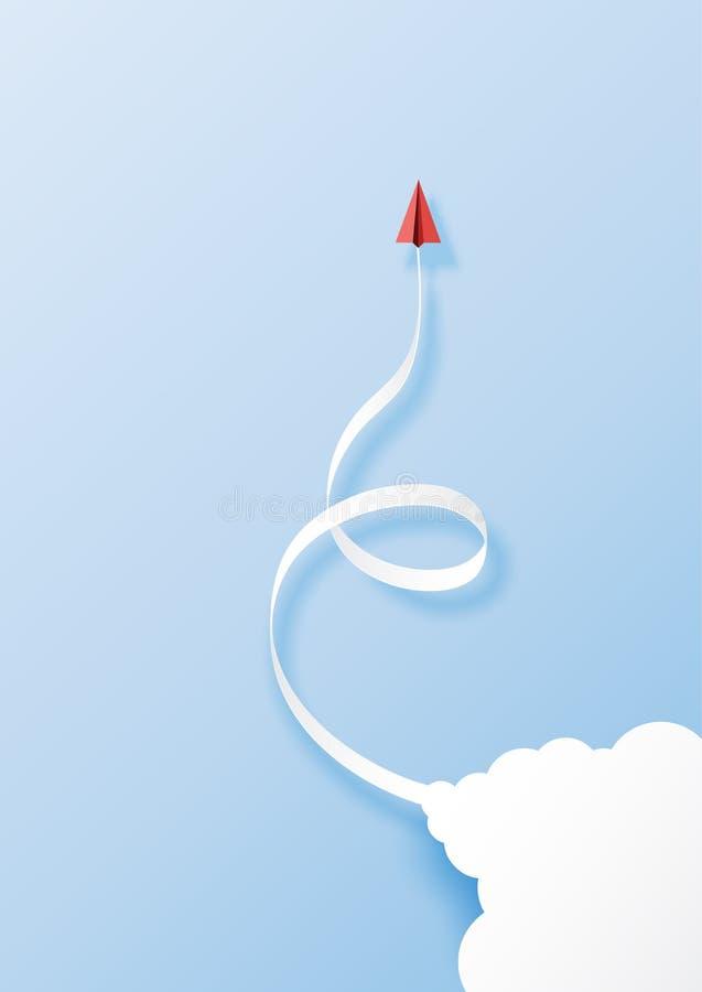 Rood document vliegtuig die van wolk op blauwe hemelachtergrond vliegen royalty-vrije illustratie