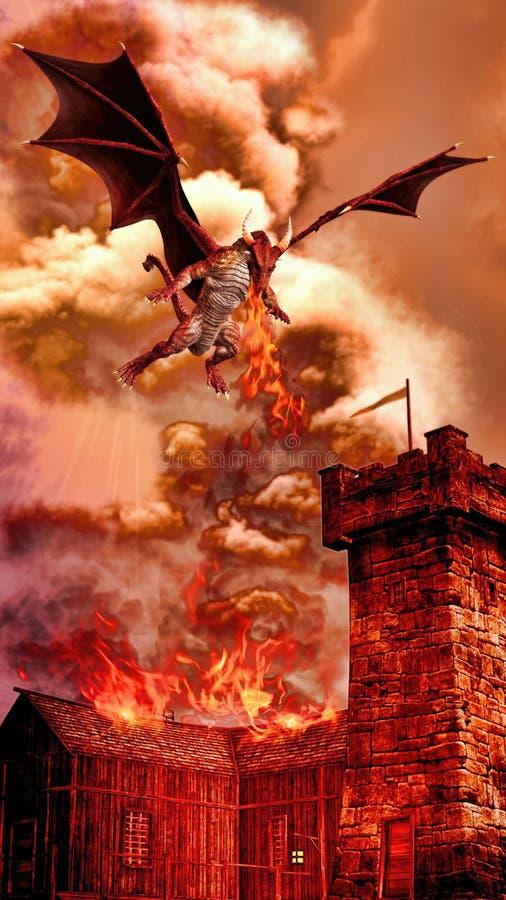 Rood Dragon Attacking Villages Illustration royalty-vrije illustratie