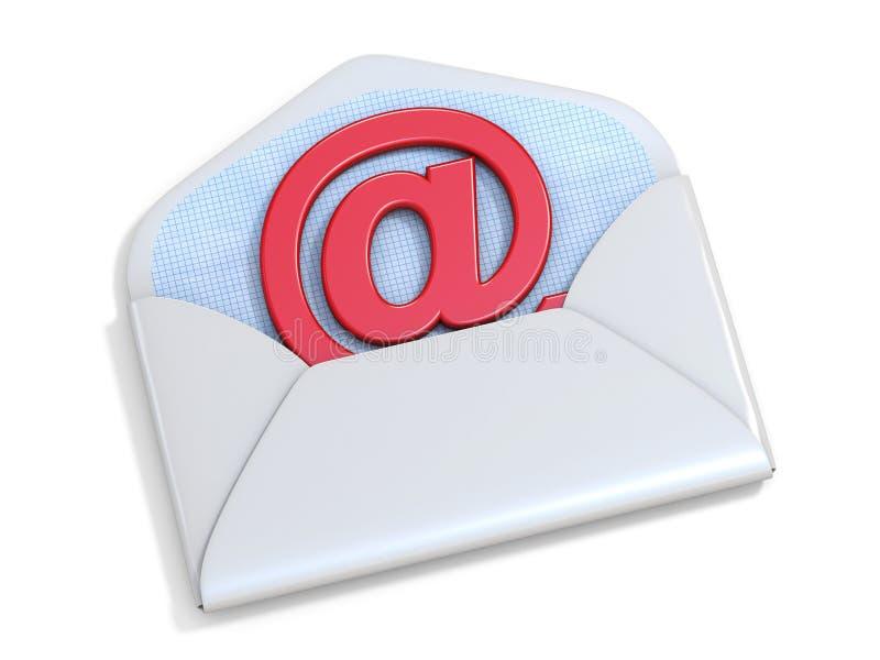 Rood e-mailteken in de geopende 3D envelop royalty-vrije illustratie