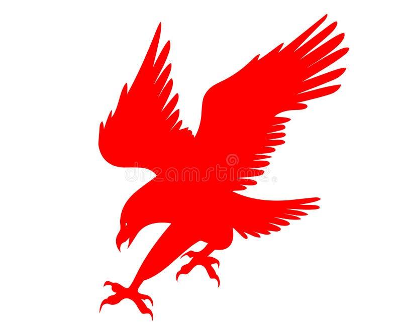 Rood Eagle met brede vleugels, illustratie voor merk en reclamespots stock illustratie