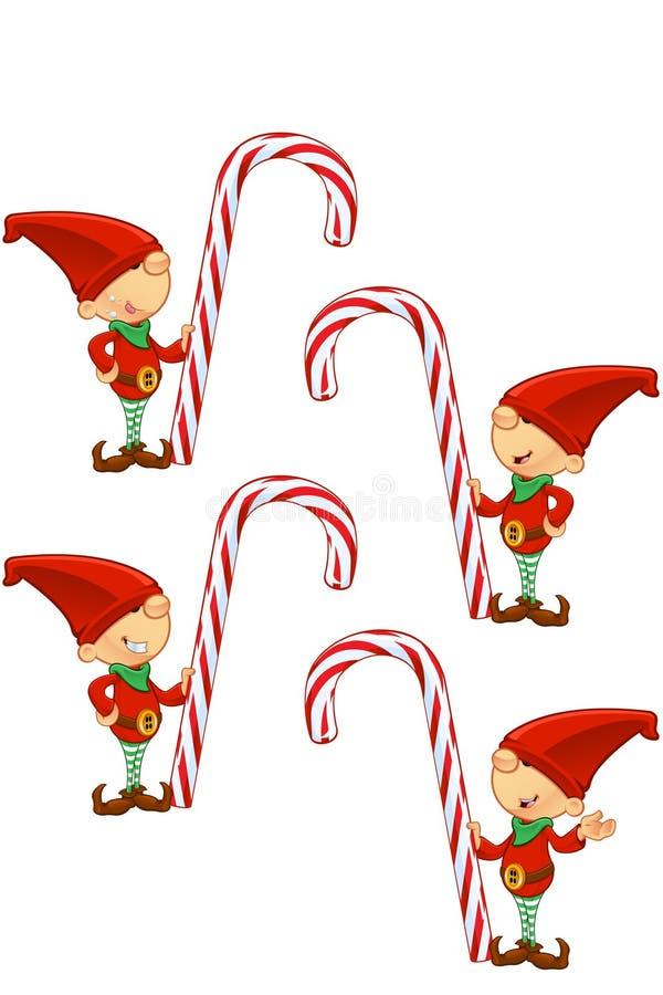 Rood Elf - het Riet van het Holdingssuikergoed royalty-vrije stock fotografie