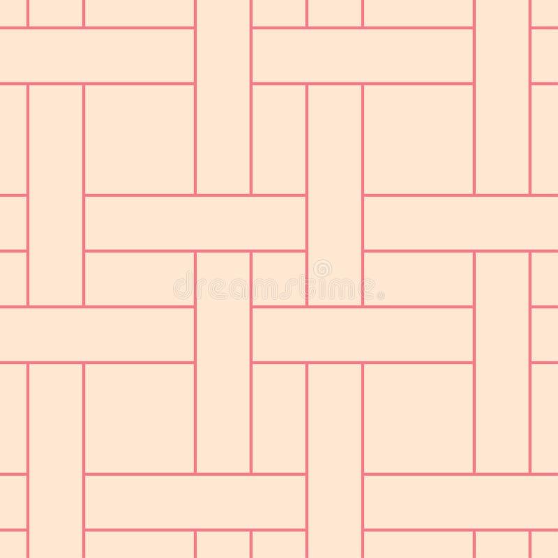Rood en beige geometrisch ornament Naadloos patroon stock illustratie